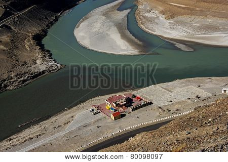 Sangam Indus and Zanskar Rivers meeting in Leh Ladakh