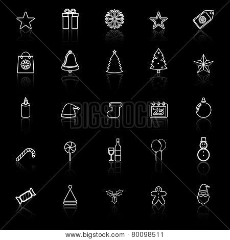 Christmas Line Icons With Reflect On Black Background