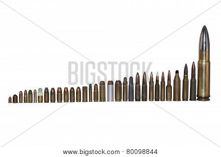 various types and calibers of ammunition, sorted by size, isolated on white