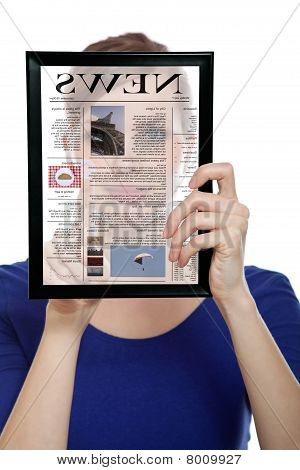 Woman Holding A Touchpad Pc, Reading A Newspaper