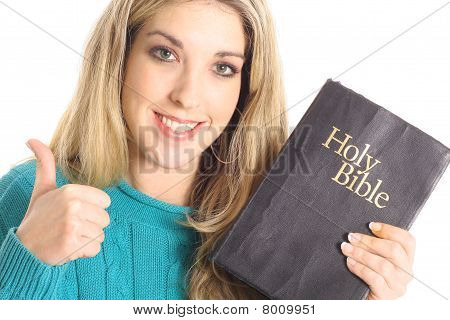 thumbs up girl with bible