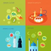 Arabic culture design concept set with hospitality clothes and ramadan flat icons set isolated vector illustration poster
