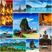 Thai travel tourism concept design - collage of Thailand images poster
