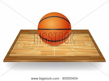 Basketball On A Wooden Court.