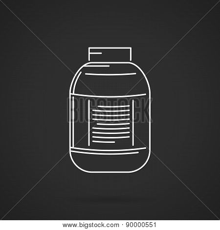 White line plastic jar vector icon