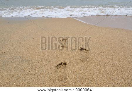 Footmark On The Beach