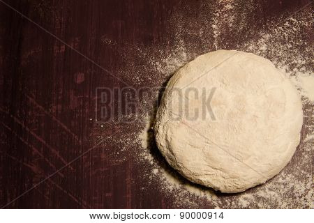Fresh The Dough Is Ready For Baking On Wooden Background