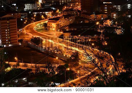 Curve Street At Night,view Point Of Pattaya City