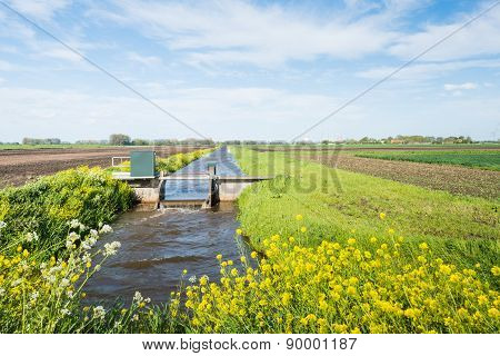 Small Weir For Water Level Control In A Dutch Polder