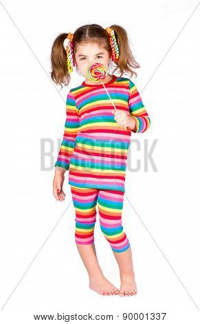 Girl in bright striped dress