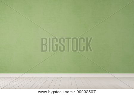 Empty green concrete wall with white wooden floor