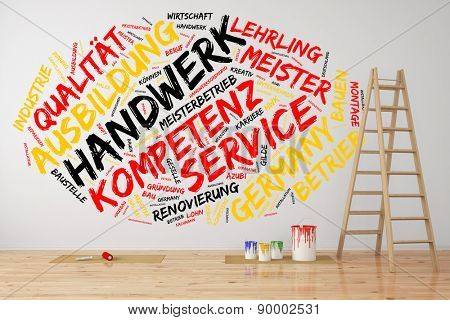 """Construction tag cloud in German with words like """"competence, trade, quality, building"""" (3D Rendering)"""