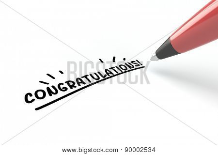 Pen writing congratulations! on a white piece of paper (3D Rendering)