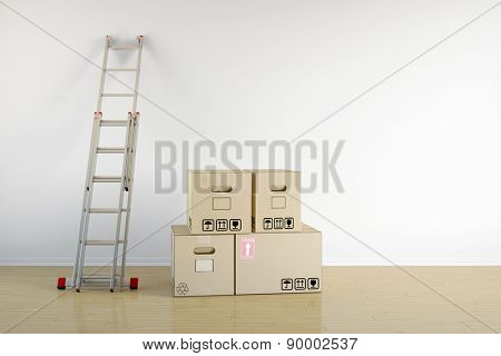 Relocation with moving boxes and ladder on a wall in empty room (3D Rendering)
