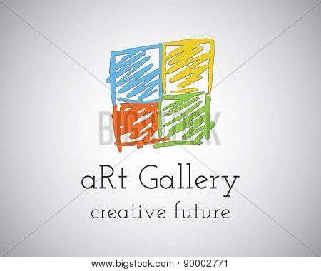 Abstract Hand Drawn Art Gallery Logo design vector template. Sketched doodle style