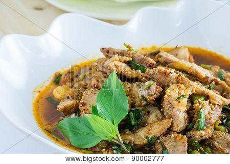 Thai cuisine spicy pork salad.
