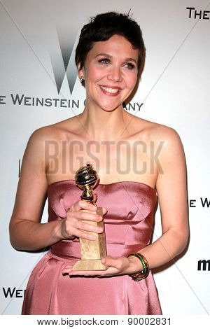 LOS ANGELES - JAN 11:  Maggie Gyllenhaal at the The Weinstein Company / Netflix Golden Globes After Party at a Beverly Hilton Adjacent on January 11, 2015 in Beverly Hills, CA