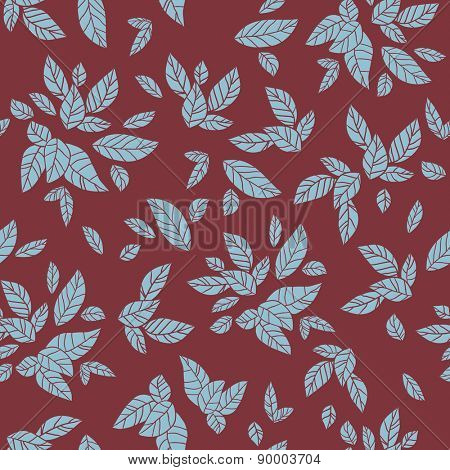 Abctract leaves pattern with marsala color. Seamless repeating background