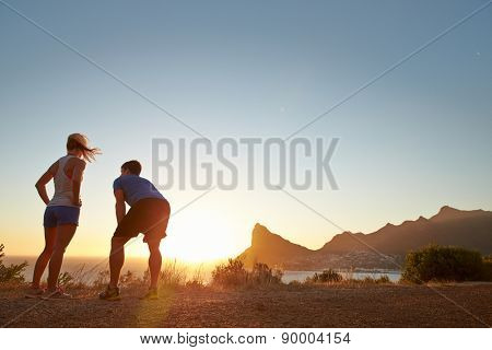 Man and woman after jogging