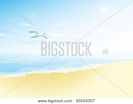 Seascape with sea surface,cloudy sky, seagull