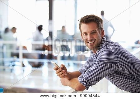 Portrait of man in office with telephone