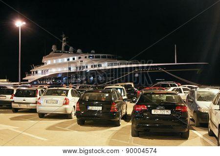 Yacht In Rovinj At Night