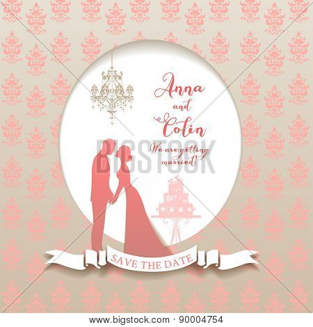 Wedding holiday card with bride and groom. Elegant wedding design for leaflet, cards, invitation and so on. Place for text.