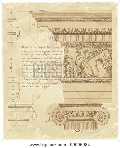 Vintage sheet of manuscript - hand draw sketch ionic architectural order based