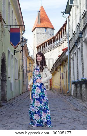 Attractive Woman In Old Town Of Tallinn
