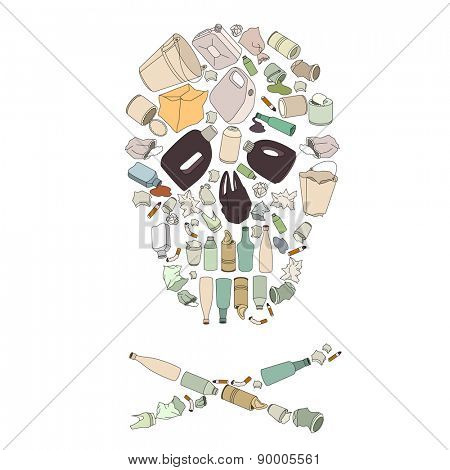 Environment pollution concept picture. Skull made of garbage isolated on white