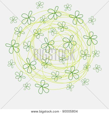 Summer flowers of doodles, style handmade, print, brochures, postcards, flyers, editable vector