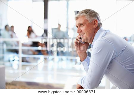 Portrait of middle aged man in office using smart phone,phone