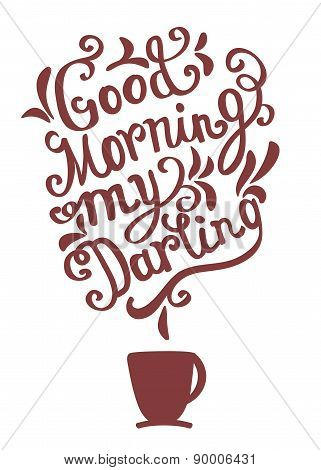 Hand drawn coffee poster perfect for greeting card, invitations and posters. Quote for coffee. Vecto