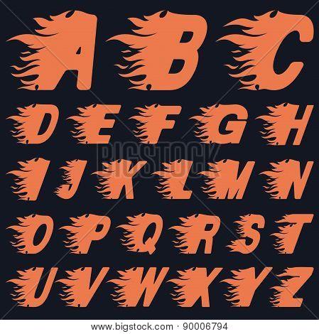 Abc Fire Letters, Vector Illustration