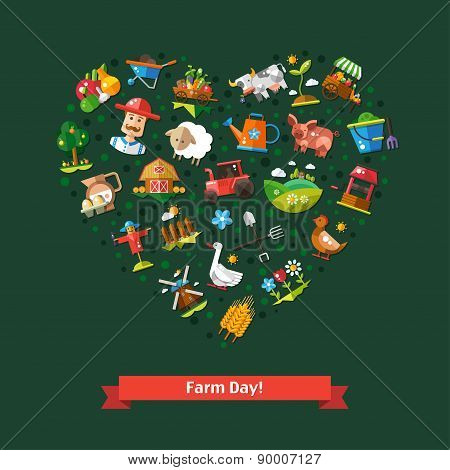 Heart composition of modern flat design farm and agriculture icons