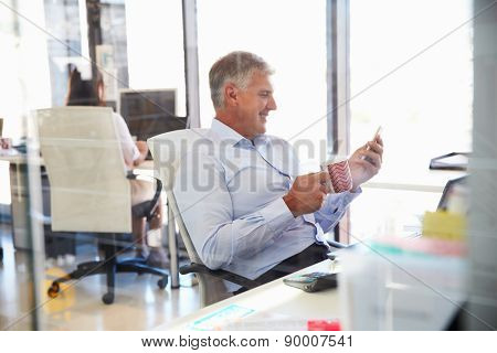 Man at work using smart phone, office interior