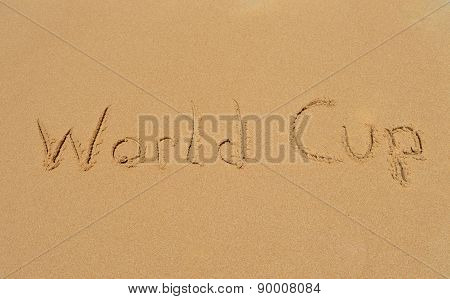 Text 'world Cup' In The Sand