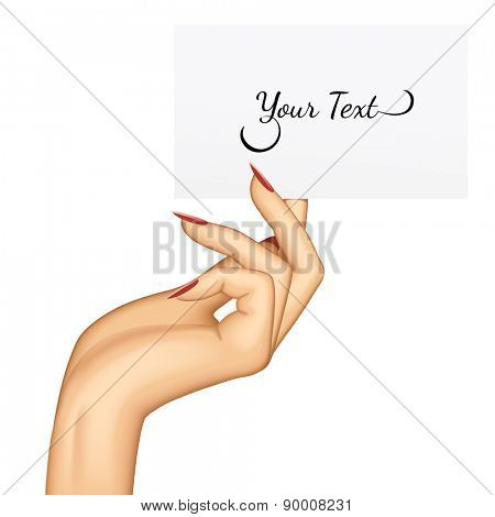 Hand holding paper business card. Vector illustration