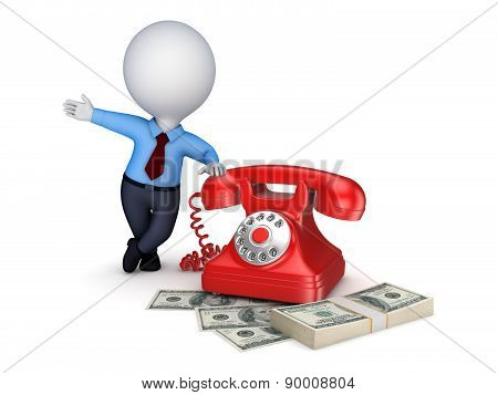 Vintage telephone and stack of money.