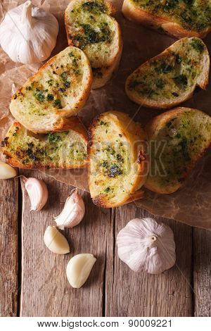 Toast With Fresh Herbs And Garlic  Vertical Top View Closeup