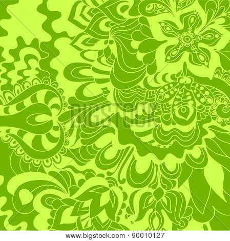 Abstract Hand-drawn Floral Background.