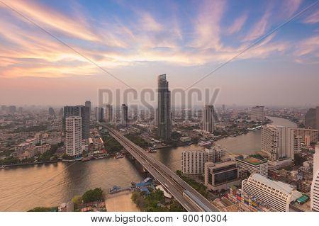 Bangkok river curve during sunset Thailand