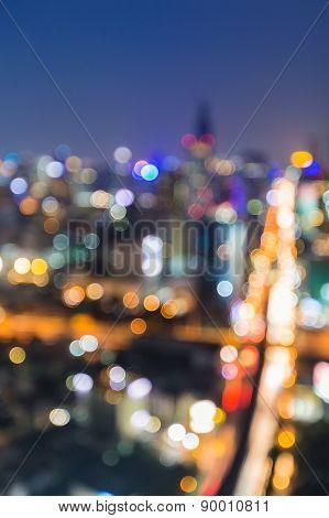 Defocus city junction aerial view traffice lights at night