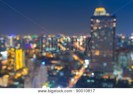 Blurred Photo bokeh Bangkok Cityscape river view at twilight time