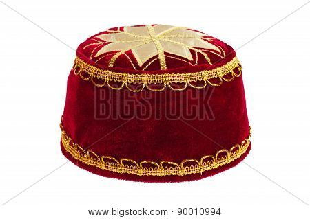 Red Turban On A White Background
