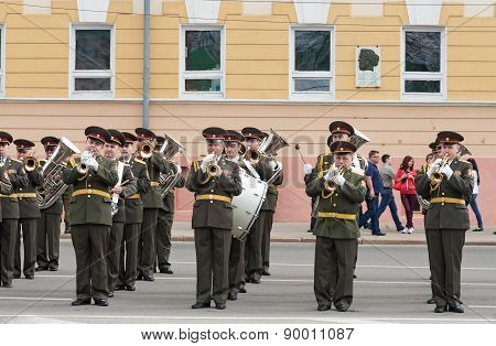 Orchestra Is At Rehearsal Of Military Parade