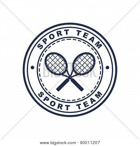 Vintage Style Tennis Label With Two Rackets. Vector Logo Design Template. Concept For Sport Team, Cl