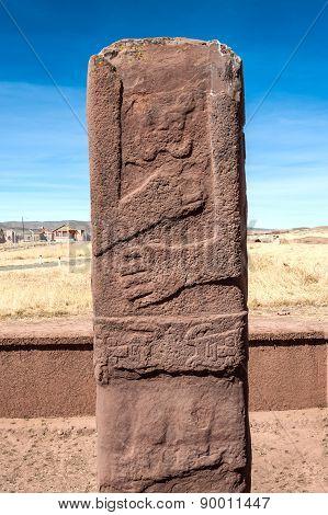 Monolith At Tiwanaku, Altiplano, Titicaca Region, Bolivia