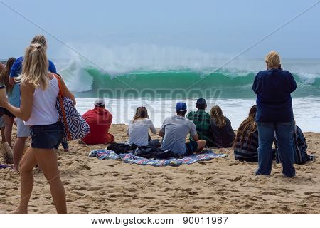 Spectators Watching Big California Surf