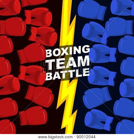 Boxing team battle. Blue and Red boxing gloves. Vector illustration